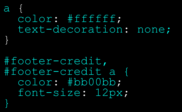 Declaration blocks with multiple declarations (top) and multiple selectors / declarations (bottom).